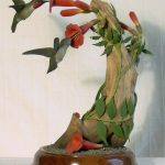 27. Hummingbirds. Oliver Lawson (USA). Painted and carved wood