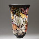59. Shell vase. Elizabetgh Gray. Decoupage on glass