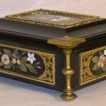 77. Italian inlaid marble casket c1870