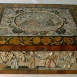 95. Stumpwork and marquetry box. English c1660.
