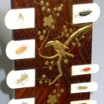 99.Bezique counter. Japan 19th century.Inlaid wood