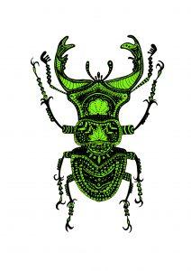 Lime Beetle Print
