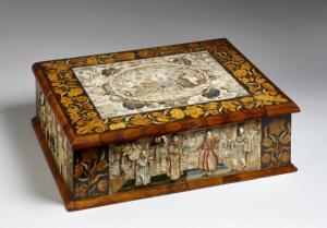 Stumpwork and marquetry box. English c1660.