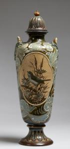 Doulton lidded vase (1897). Decorated by Florence Barlow.