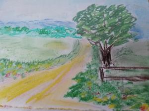 """View from Comberton Hill"" pastel by Janet"