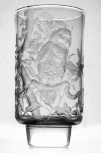 Michael Fairbairn (British). Long-eared Owl vase. Copper wheel glass engaved glass.