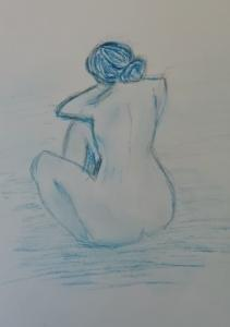 """Blue nude in the style of Picasso"" pastel by . Janet"
