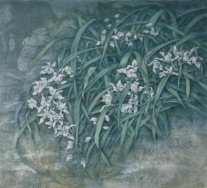 Cai Xiaoli (China) - White Orchids. Watercolour.