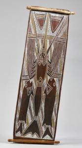 Man 2  (Arnhem Land, Australia). Crayfish and 2 barracuda fish. Painted eucalyptus bark.