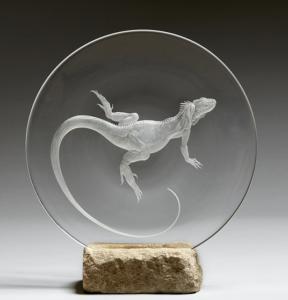 Michael Fairbairn (British). Iguana. Copper wheel engraved plate.
