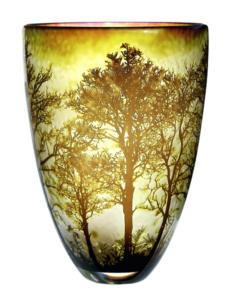 Jonathan Harris (British). Treescape. Internally carved cased glass.