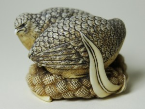 Quail on Millet netsuke. (Japan 19th century). Ivory