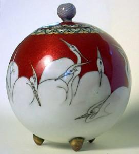 Cloisonne-Koro. Japanese c1900. Storks.