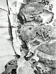 Elizabeth Gray (British). Windblown rock face. Charcoal. 1992
