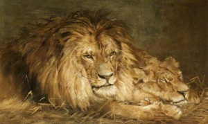 After Geza Vastagh (1866-1919) (Hungary). Lion and Lioness. Oil.