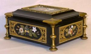Italian pietre dure marble casket. c1860