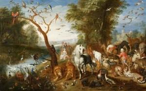 Attr. Jan van Kessel the Younger (1654-1708) (Holland). Noah Entering the Ark. Oil on panel.
