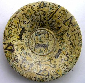 Persian buffware ibex bowl
