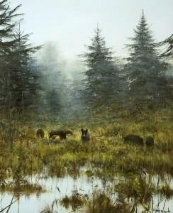Pieter Dik (1943-1984) (Holland). The Sounder - Wild Boar. Oil.